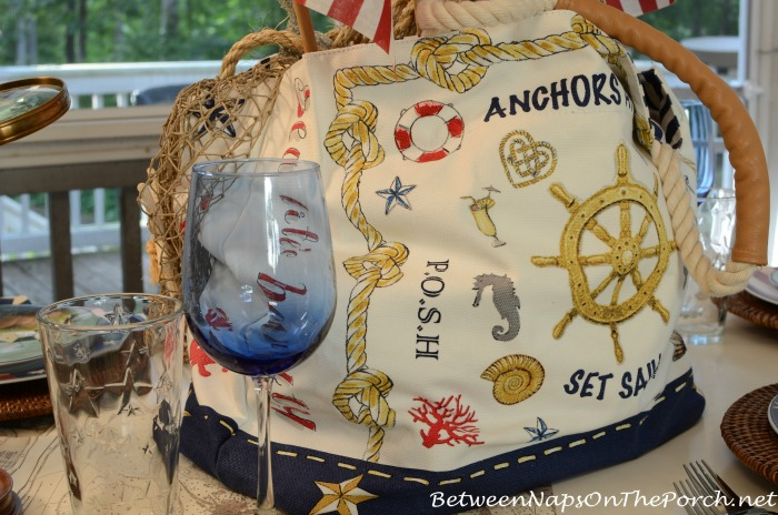 Beach Tote With Nautical Theme