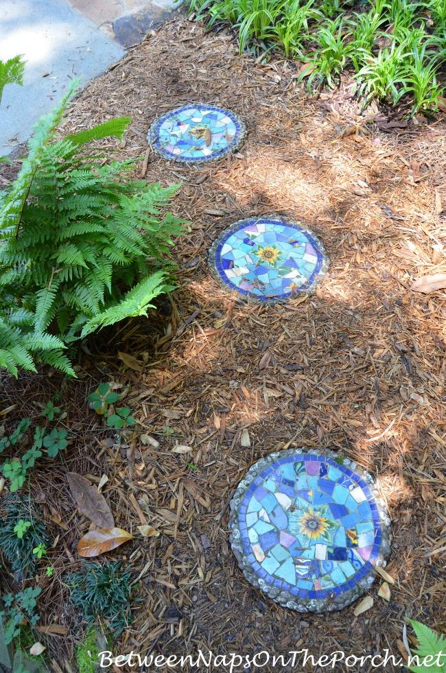 Blue Mosiac Garden Stepping Stones