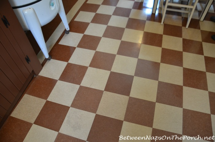 Brown Checkered Floor in A Christmas Story Movie House Kitchen