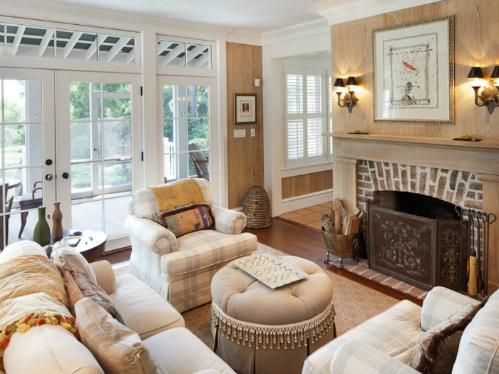 Cottage Living Room with Light Colored Paneling