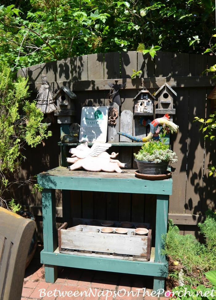 Garden Bench Potting Table in the Garden