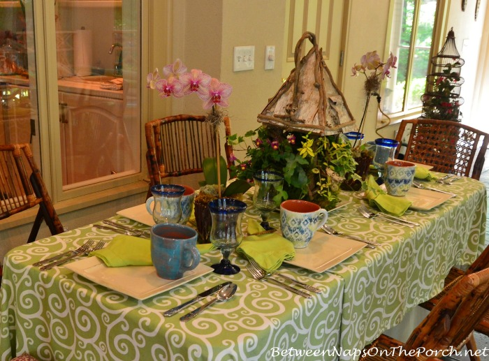 Porch Table Setting in Green & Blue