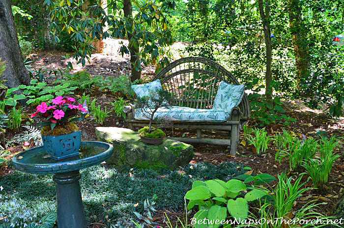 Twig Garden Bench in the Garden