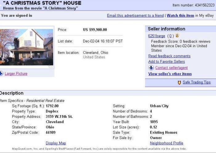 eBay Ad for A Christmas Story Movie House