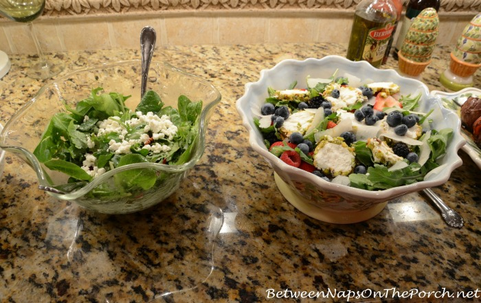 Arugula Salad With Goat Cheese & Fresh Berry Dressing -