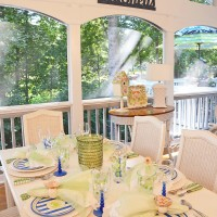 Beach Table Setting on Screened-in Porch