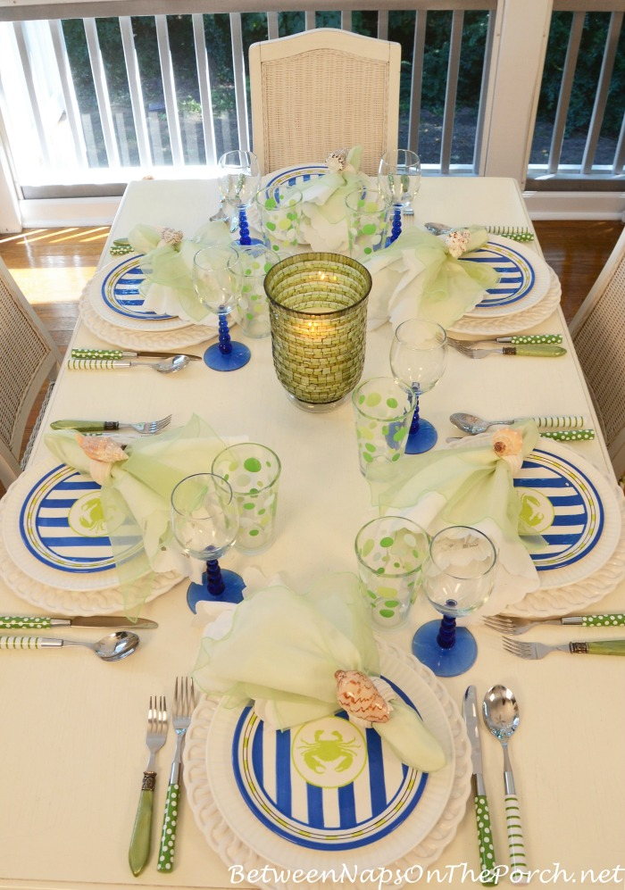 Beach Tablescape in Green & Blue