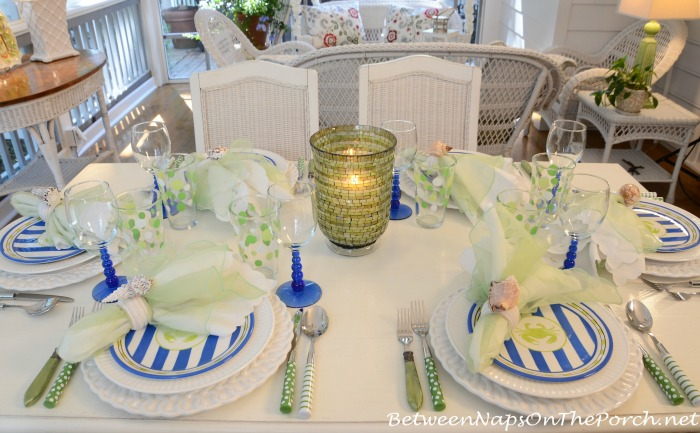 Beach Themed Table Setting Tablescape With Crab Plates