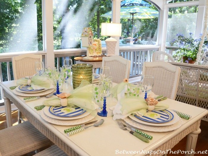 Beach Themed Table Setting Tablescape in Green & Blue