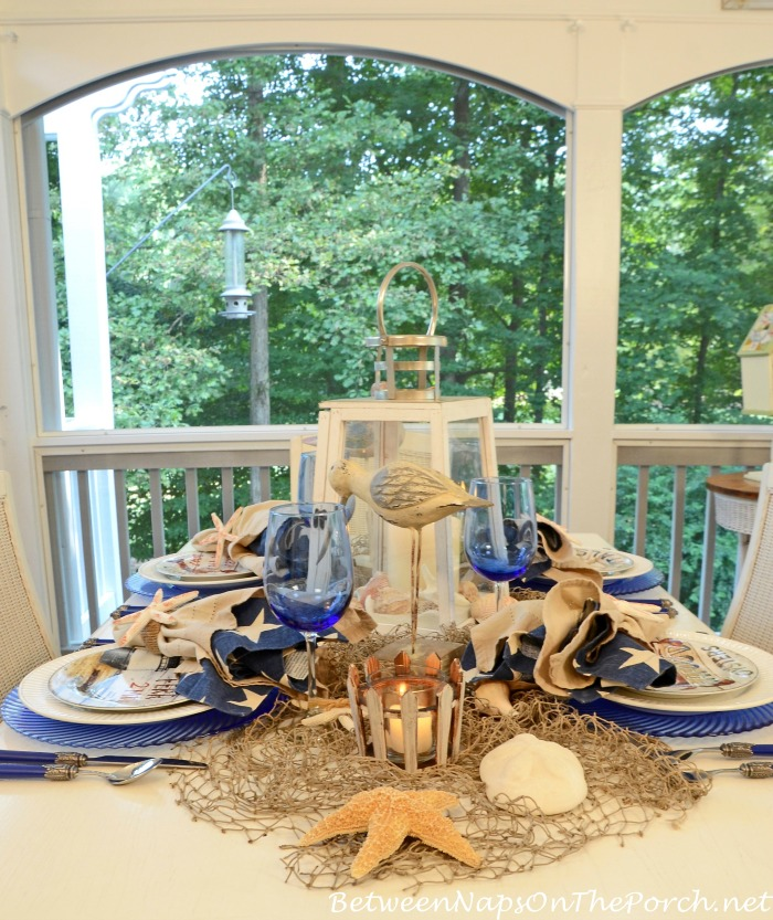 Blue Glass Chargers for a Nautical Table Setting