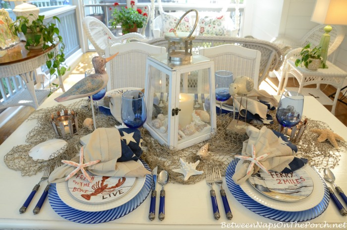 Blue & White Table Setting with David Carter Brown Plates