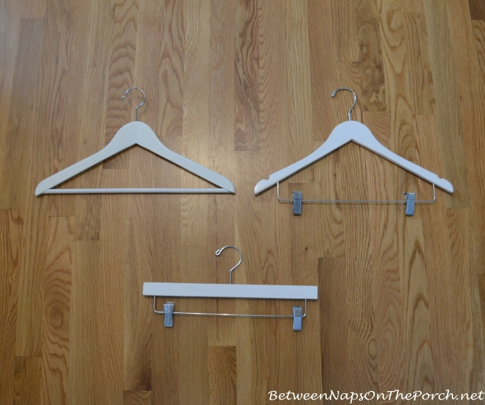 White wood hangers for a closet makeover for Wooden hangers ikea