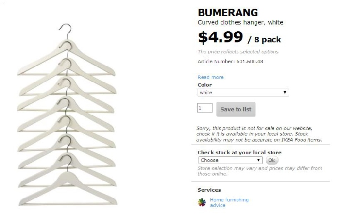 Bumerang White Wood Hangers From IKEA