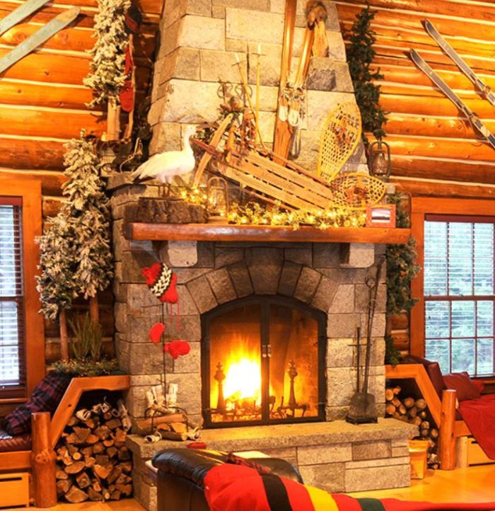 Decorate Mantel For Fall With Sled, Skiis, SnowShoes & Greenery
