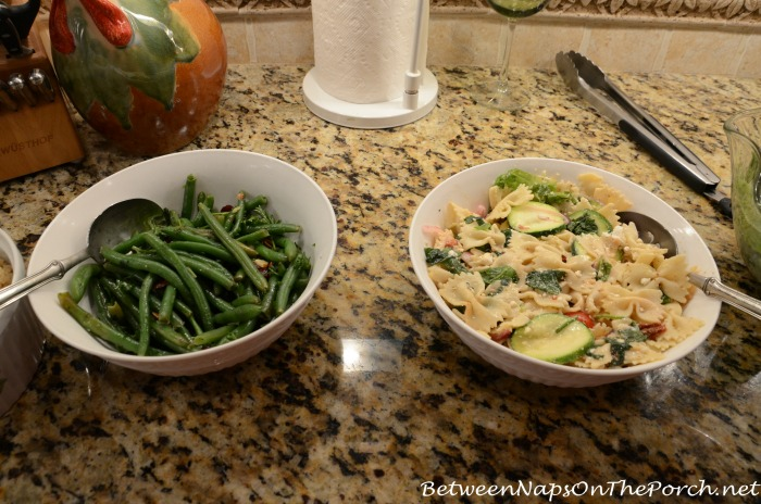 Green Beans With Almonds & Cranberries & Pasta Salad