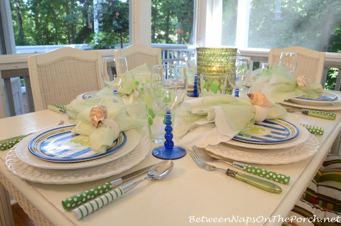 Green & Blue Beach Themed Table Setting