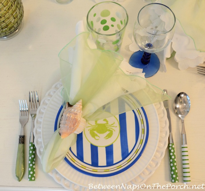Green Polka Dot Glasses & Green Striped & Polka Dot Flatware