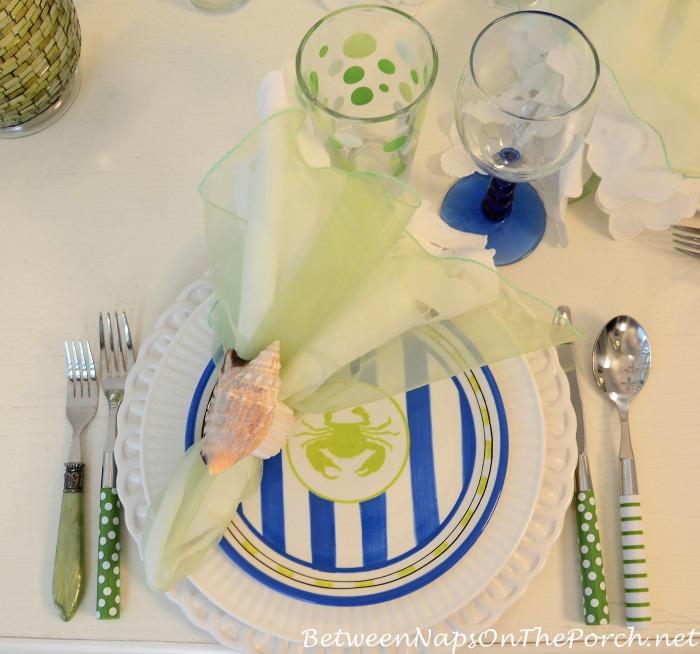 Green Polka Dot Glasses & Green Striped & Polka Dot Flatware