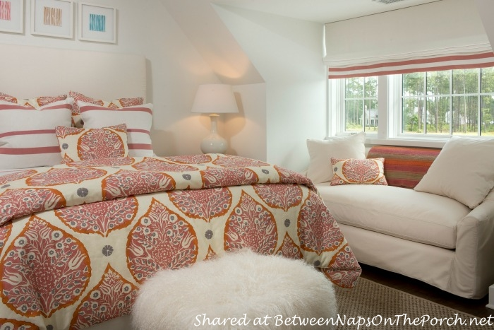 Red & White Bedroom in Southern Living Idea House-Palmetto-SC