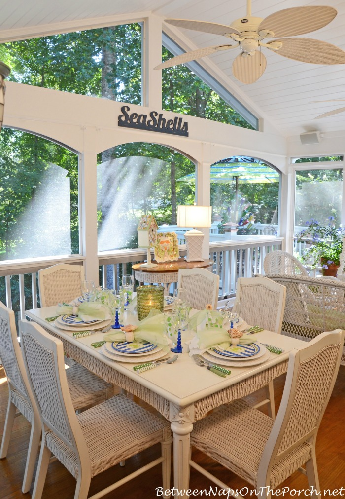 Summer Dining Table Setting On The Porch