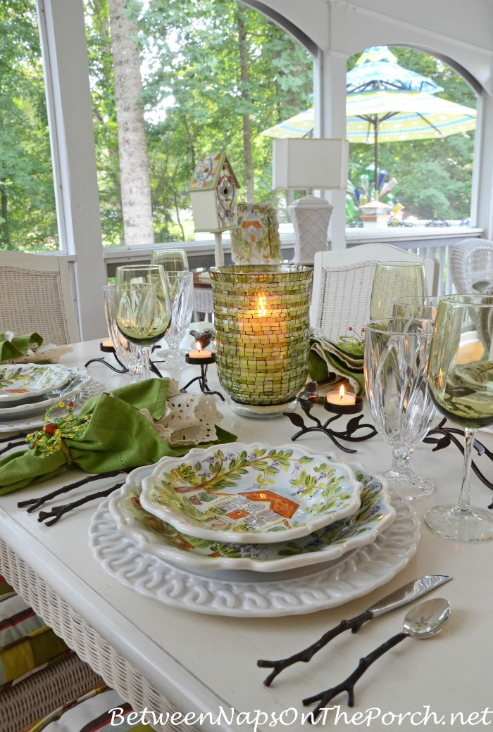 Summer Dinner Party On Screened Porch