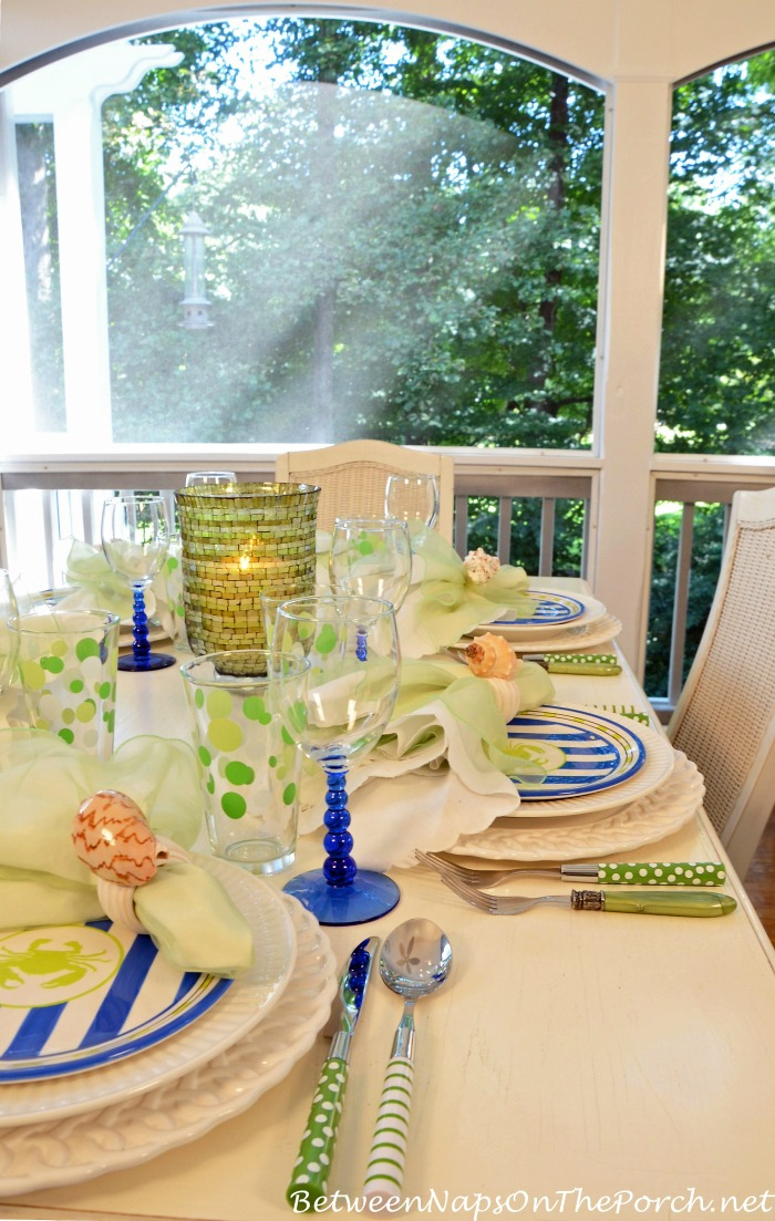 Summer Table with Green Polka Dot & Striped Flatware