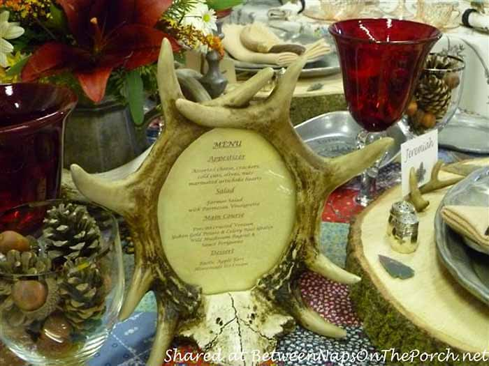 Antler Framed Menu For A Western Cabin Table