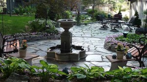 Backyard Makeover, Pond Become Flagstone Patio With Fountain