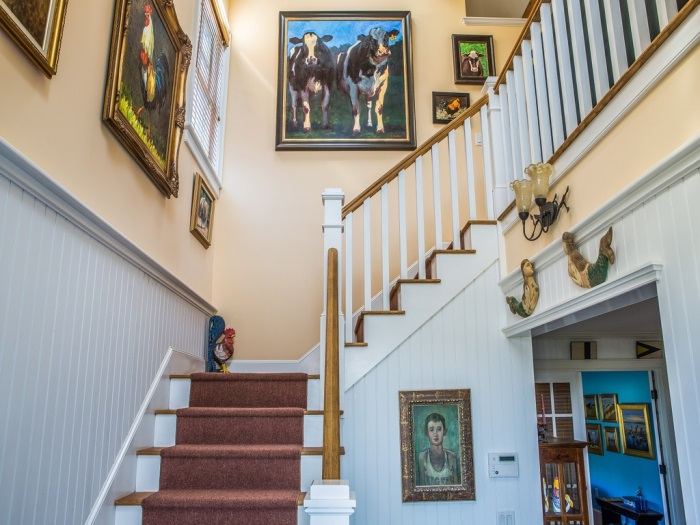 Beach Cottage Staircase with Colorful Art