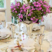 Feminine Silver Table Setting with Silver Accents