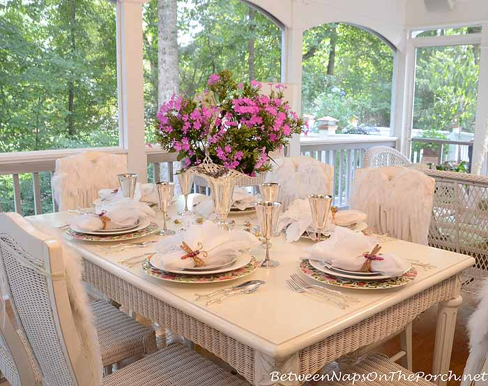 Birthday Party Table Setting With Angel Wings For Chairs