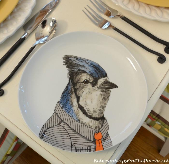 Blue Jay Dapper Animals Salad Plate_wm