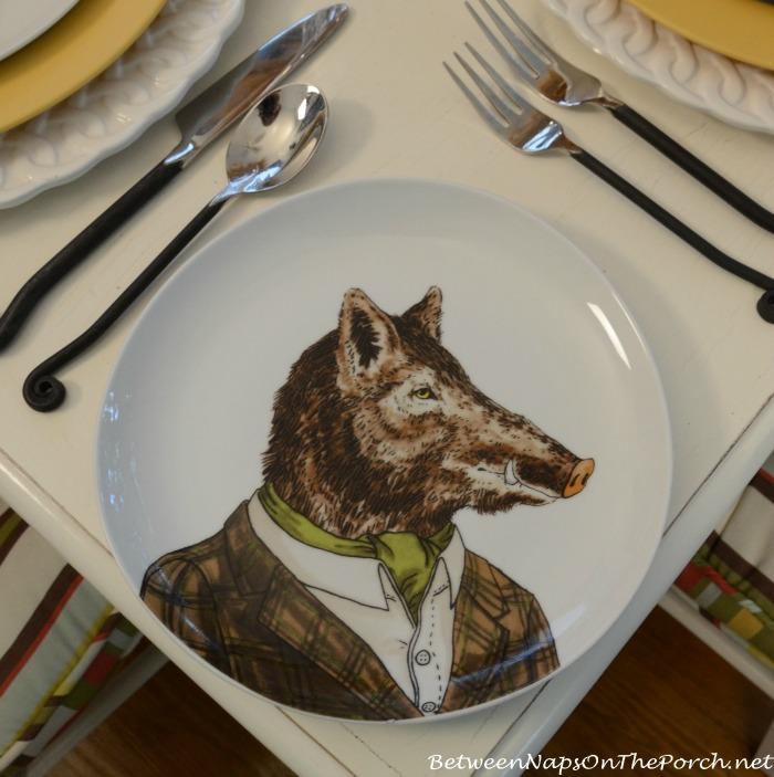 Boar Dapper Animals Salad Plate_wm