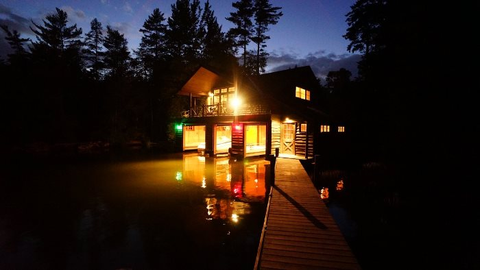 Boat House Lit At Night