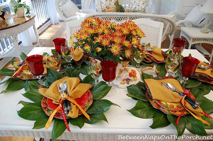 Fall Autumn Table Setting With Magnolia Leaf Chargers