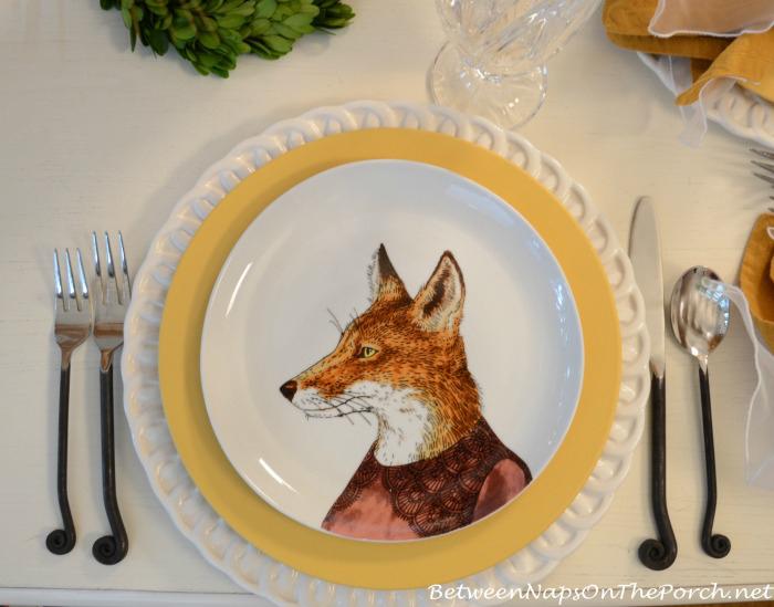 Fox Dapper Animals Salad Plate_wm