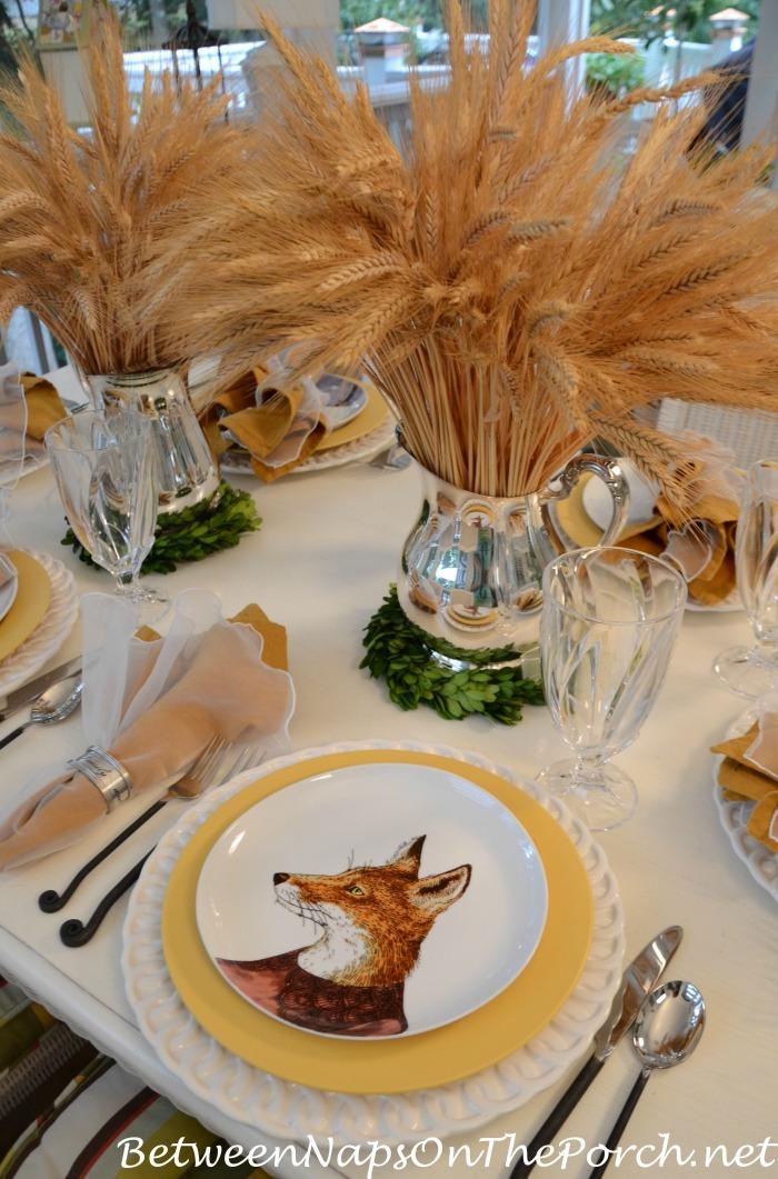 Fox Salad Plate In An Autumn Table Setting_wm