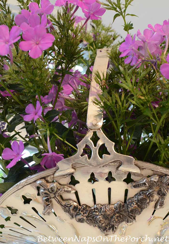 Fragrant Purple Phlox Centerpiece in Silverplate Bridal Basket