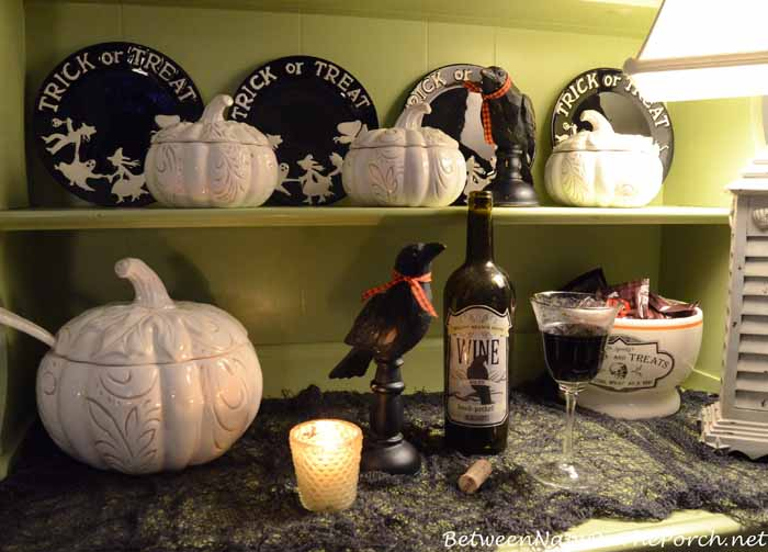 Hutch Decorated for Halloween