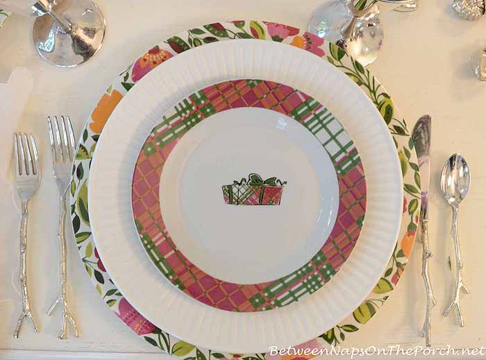 Kim Parker Spode Emma's Garland Chargers & Plaid Present Salad Plates