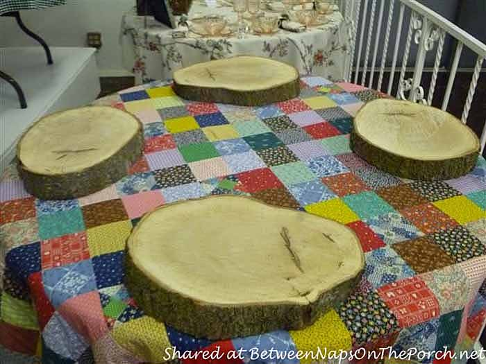 Oak Tree Slab Chargers for a Rustic Cabin Lodge Themed Table Setting
