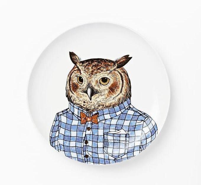 Owl Dapper Animals Salad Plate