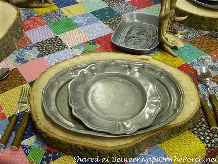 Pewter Dishes For A Rustic Cabin Style Tablescape