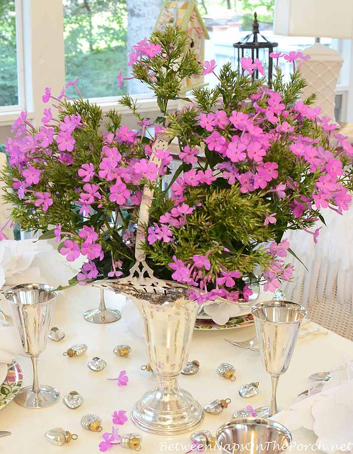 Purple Phlox in Bridal Basket