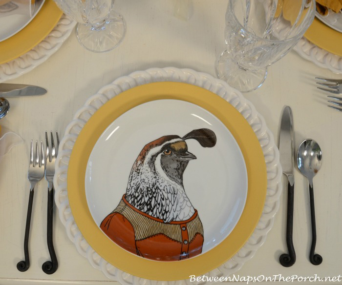 Quail Dapper Animals Salad Plate_wm