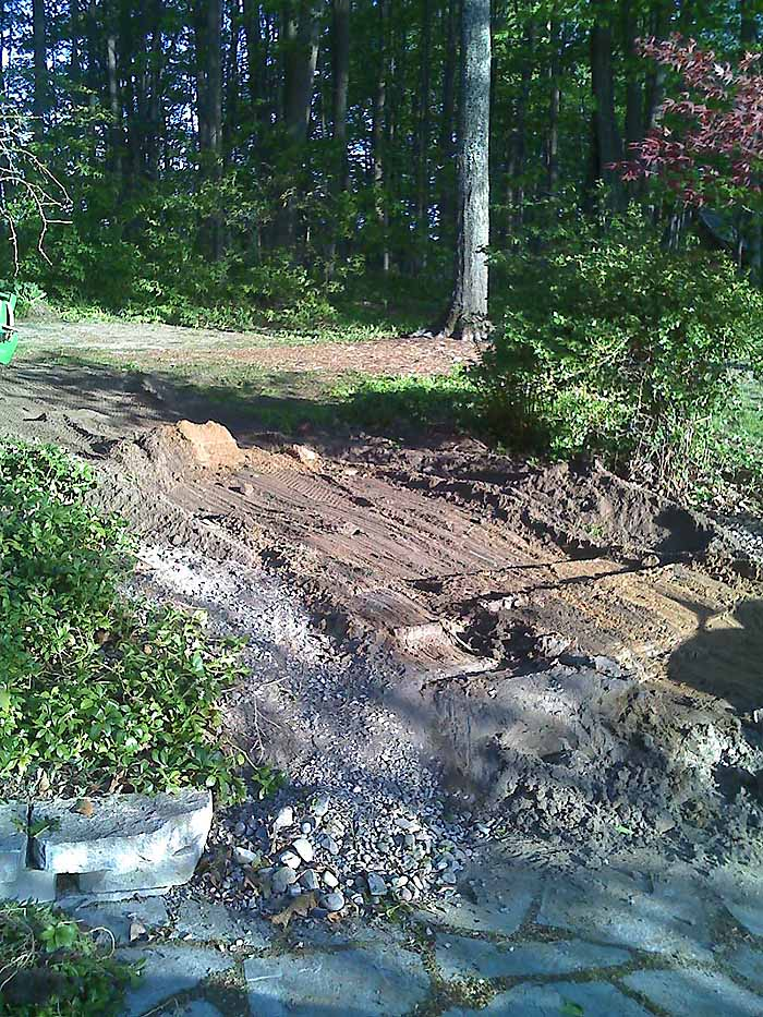 Replace Pond With Fountain and Flagstone Patio, Garden Makeover 03