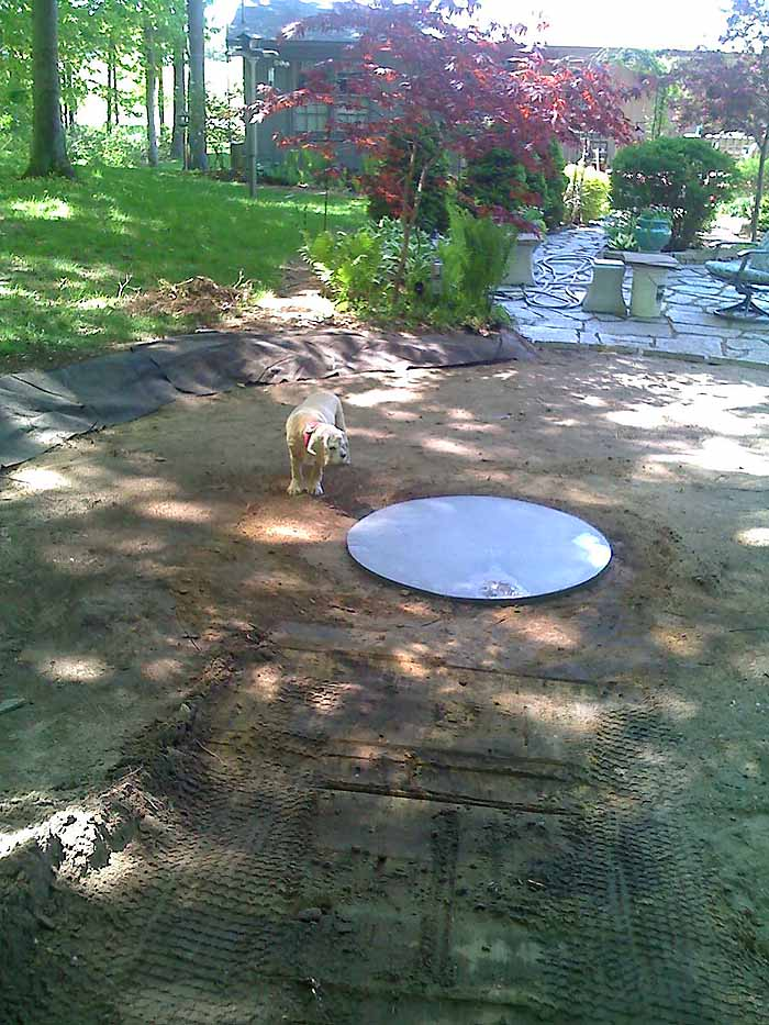 Replace Pond With Fountain and Flagstone Patio, Garden Makeover 04