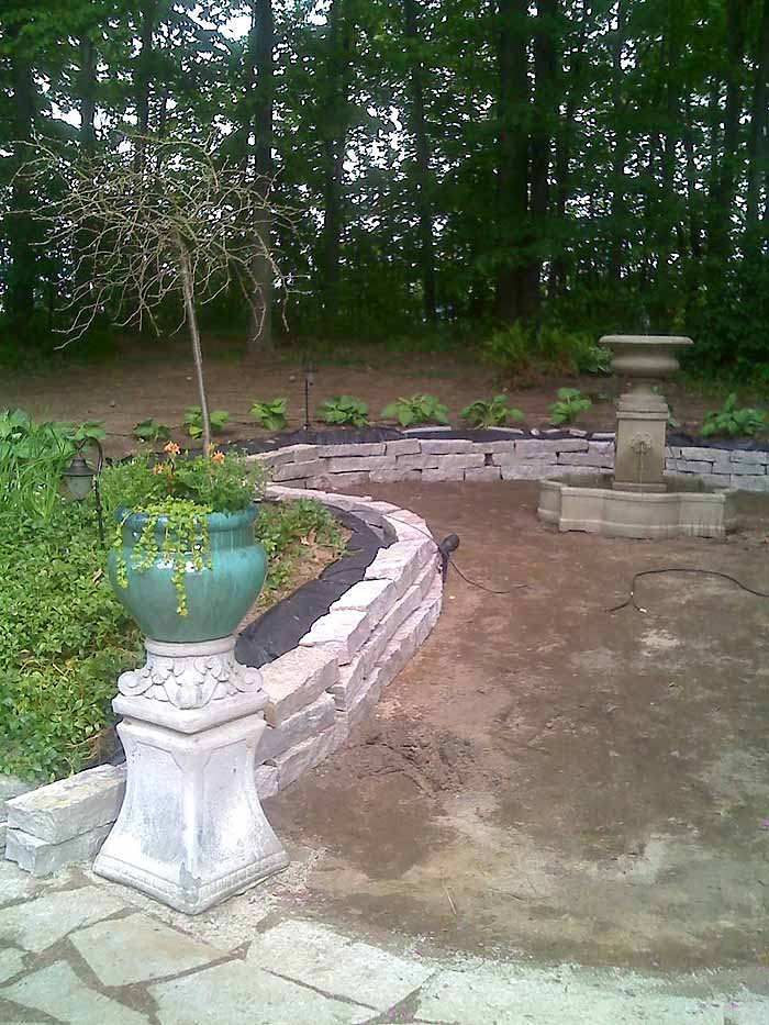 Replace Pond With Fountain and Flagstone Patio, Garden Makeover 07