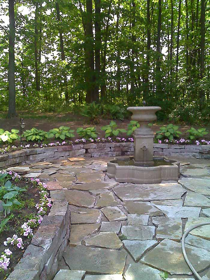 Replace Pond With Fountain and Flagstone Patio, Garden Makeover 08