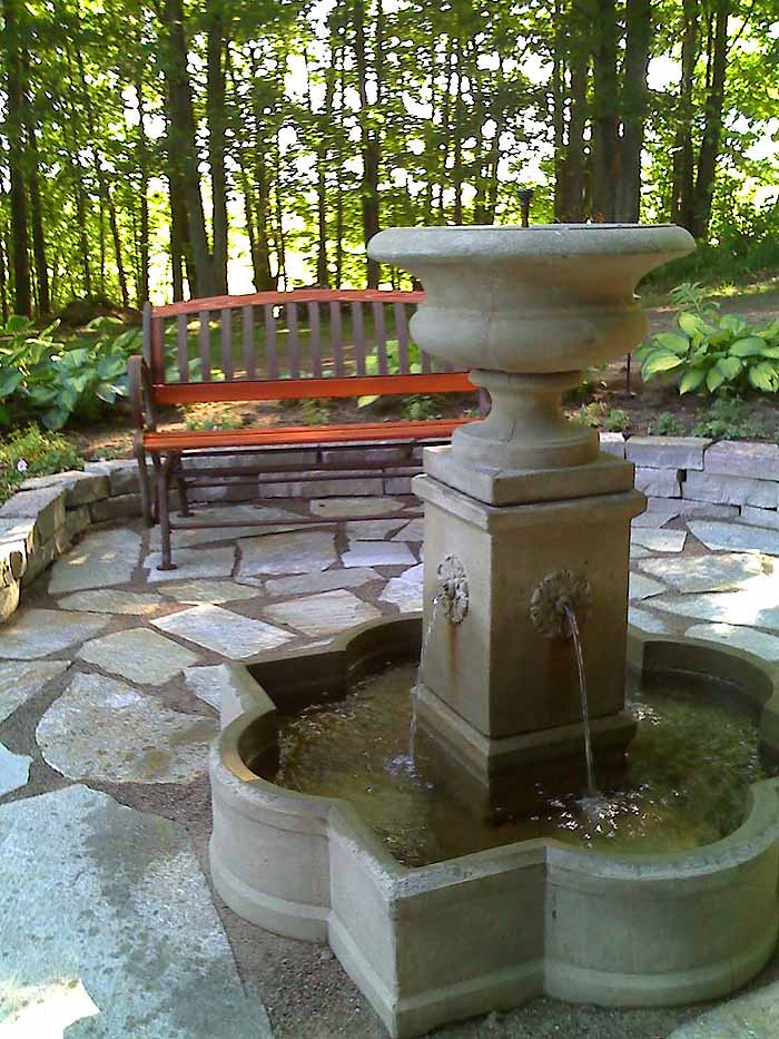 Replace Pond With Fountain and Flagstone Patio, Garden Makeover 09